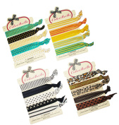 No-Crease Hair Ties Ponytail Holders - 20 pcs (Black, Brown, Assorted Print) By ColorBeBe