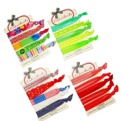 No-Crease Hair Ties Ponytail Holders - 20 pcs (Red & Green) by ColorBeBe