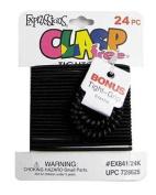 Expressions Black Hair Elastics, 24 Per Card, Clasp Free 841b