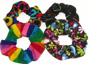 4 Neon Rainbow Floral Peace Signs Fabric Hair Scrunchies Scrunchie handmade by Scrunchies by Sherry