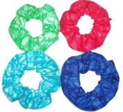 Blenders Print Fabric Hair Scrunchies Set of 4 Ponytail Holders Green Red Blue Teal made by Scrunchies by Sherry