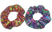 Hair Scrunchie Metallic Sequin Dots Rainbow Tie Ponytail Set of 2 Handmade by Scrunchies by Sherry