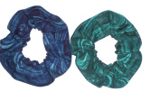 Hair Scrunchies Coral Reef Ocean Blue Green Fabric Ponytail Holders Set of 2 Ties Handamde by Scrunchies by Sherry