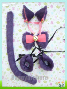 Lolita Anime Party Cosplay Costume Cat Ears Hair Clip Tail Wristband Bow Tie Set