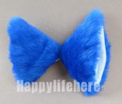 Hot Sweet Lovely Anime Lolita Cosplay Fancy Neko Cat Ears Hair Clip Royal Blue With White Inside