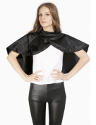 XMW Classic Waterproof Shampoo Cape with hook and loop Closure Black