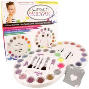 Custom Body Art 16 Colour Rainbow Wheel Glitter Tattoo Set & 16 Colour Face Painting Combo Set ; 30 Variety Themed Stencils, 2 Glitter Brushes & 4 Body Glues, 12 Foam Face Paint Applicator Sponges & 4 Foam Brushes
