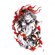 Yeeech Temporary Tattoo Sticker Paper Thailand Flame Elephant God for Arm Leg