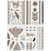 Metallic Gold and Silver Foil Black Jewellery Temporary Tattoos, 4 Sheets, 50+ Tats!, in Multi with Metallic Finish