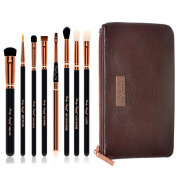 Party Queen Unique Vision 8Pcs Makeup Brush Eye Set-Silky Density Synthetic Bristles Cosmetic Kit + Free Soft Coffee Leather Case- Versatile For Eyes Flawless Beauty