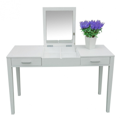 Ghp 120cm l white vanity make up lift top mirror 2 for White vanity table with drawers