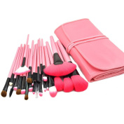XMJPS 24 Pcs Pro Makeup Brushes Cosmetic Set Kit Synthetic Wood Brush with Leather Case