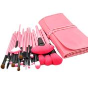 XMJPS 24 Pcs Pro Makeup Brushes Cosmetic Set Kit Synthetic Wood Brush with Leather Case