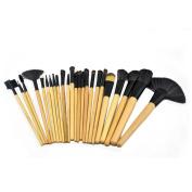 ZENITH FASHION 24Pcs Black Synthetic Face Brush Eye Brush Slip Brush Travel Makeup Brushes Set