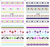 KADS Romantic Strips Series Nail Art Decoration Sticker Decal DIY Water Transfer- 1 Pack 4 design