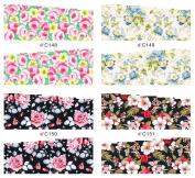 KADS Beauty Flower Series Nail Art Stickers False Nail Design Manicure Decals Nail Art Water Decal / Tattoo / Sticker Water Transfer - 1 Pack 4 design