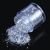ECBASKET 1 Jar Hottest Hexagon Shinning Silver Glitter Powder Nail Glitter Slices