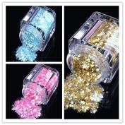 ECBASKET 1 Set 3 jars Golden/Sea Blue/Dark Pink Glitter Nail Powder Dust DIY Nail Glitter Slices Decorations