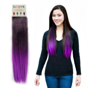"Kisspat® Purple Dip Dyed Ombre Hair Extension-Synthetic Clip In Hair Extension With Gradual Deep/Light Purple Colours, 5 Clips Easy To Apply & Remove, 60cm - 60cm Long, 23cm wide, ""Step By Step"" Instruction For You"