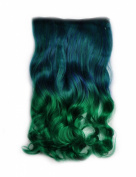 Stepupgirl 60cm Dark Blue to Grass Colour Ombre Curly Curl Wavy Full Head Clip in Hair Extension with Souvenir Card