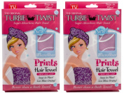 Turbie Twist Microfiber Super Absorbent Hair Towel (2 Pack) Signature Prints