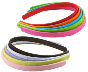 HipGirl Girls Grosgrain Ribbon Wrapped Headbands, Multi Colour, 1.3cm , 10 Count