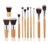 HOSL Makeup Brush Set Powder Foundation blusher Cosmetic Bamboo Handle with a brush bag 11PCS