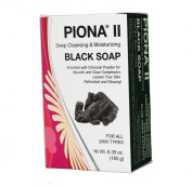 Piona ® II Deep Cleansing & Moisturising Black Soap 190ml - Enriched with Charcoal Powder - Clears Complexion and Leaves Skin Glowing - By Cherrybargains