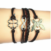 Lowpricenice(TM) Women Girl Butterfly Flowers Friendship Leather Charm Weave Bracelet Coffee