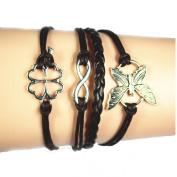 Lowpricenice(TM) Women Girl Butterfly Flowers Friendship Leather Charm Weave Bracelet Coffee