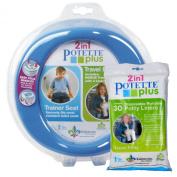 Blue Potette Plus Port-a-potty Training Potty Travel Toilet Seat - 2 in 1 Bundle with Potette Plus Liners - 30 Liners