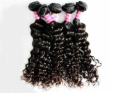 #1b Curly Wave 100% Virgin Brazilian Bundle Hair Remy Human Hair Weft Weave Extensions 100g