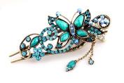 Beyend Blue Women's Vintage Crystal Butterfly Hair Clip Head Wear BE-03