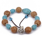 Men's Women Cocuswood Mix Turquoise Jewellery Bracelet Link Wrist Tibetan Buddhist Beads Prayer Mala Macrame