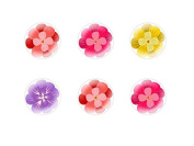 6pc x 20mm Handmade Round Domed Czech Glass Cabochons Flowers 3 S3T78