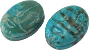 Bead, Turquoise Magnesite Gemstone Carved Scarab Beads 14x10mm
