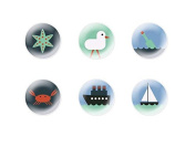 6pc x 25mm Handmade Round Domed Czech Glass Cabochons Sea Signs S1T9