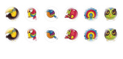 12pc x 10mm Handmade Round Domed Czech Glass Cabochons Cute Birds 2 S8T31