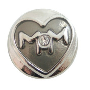Chunk Snap Charm Mom with Heart and Clear Stone