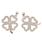 2 High Quality Silver four Love flower Clove Charms/Pendants with Cubic Zirconia Pave (Satisfaction Guaranteed) MCAC20