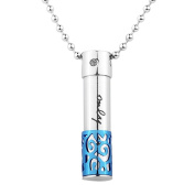 """VALYRIA Stainless Steel Pendant Necklace Pill Case Charm Pendant 38.5mm x9mm(1 4/8"""" x 3/8"""")"""
