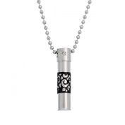 "Stainless Steel Pendant Necklace Pill Case Charm Pendant 38.5mm x9mm(1 4/8"" x 3/8"")"