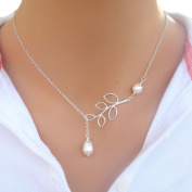 HP95(TM) Fashion Women Sexy Charm Jewellery Leaves Pearl Pendant Neck Necklaces