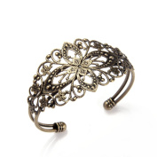 Skyus® Antique Bronze Brass Metal Flower Filigree Cuff Bangle Bracelet 35x65mm HOT