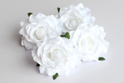 CheckMineOut Pack of 5 White Artificial Rose Flower Heads Bridal Wedding Flower Women Hair Clip Headpieces Hair Jewellery Bridesmaid Gifts Brooch