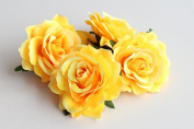 CheckMineOut Pack of 5 Yellow Artificial Rose Flower Heads Bridal Wedding Flower Hair Clip Headpieces Hair Jewellery Bridesmaid Gifts Brooch