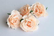 CheckMineOut Pack of 5 Peach Artificial Rose Flower Heads Bridal Wedding Flower Hair Clip Headpieces Hair Jewellery Bridesmaid Gifts Brooch