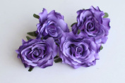 CheckMineOut Pack of 5 Purple Artificial Rose Flower Heads Bridal Wedding Flower Hair Clip Headpieces Hair Jewellery Bridesmaid Gifts Brooch