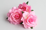 CheckMineOut Pack of 5 Pink Artificial Rose Flower Heads Bridal Wedding Flower Hair Clip Headpieces Hair Jewellery Brooch