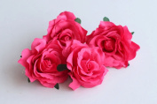CheckMineOut Pack of 5 Hot Pink Artificial Rose Flower Heads Bridal Wedding Flower Hair Clip Headpieces Hair Jewellery Brooch